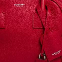 Burberry Red Grained Leather Cube Satchel