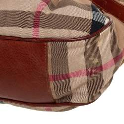 Burberry Beige/Brown House Check Canvas and Leather Gathered Pocket Hobo