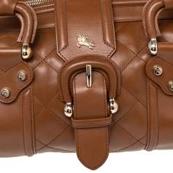 Burberry Brown Quilted Patent Leather Manor Satchel