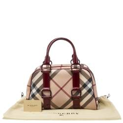 Burberry Beige/Maroon Nova Check PVC And Patent Leather Satchel
