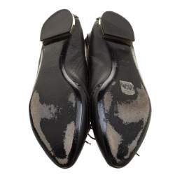 Burberry Black Brogue Leather Wingtip Detail Bow Ballet Flats Size 39.5