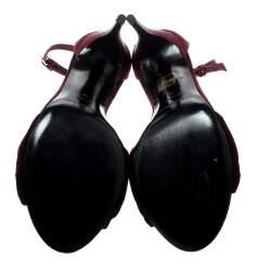 Burberry Burgundy Satin And Velvet Knot Detail Ankle Strap Sandals Size 39