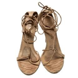 Burberry Beige Python Leather Ankle Wrap Open Toe Sandals Size 38