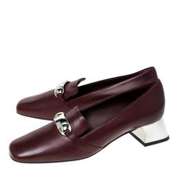 Burberry Burgundy Leather Amika Emebllished Pumps Size 39.5