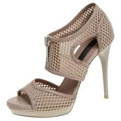 Burberry Beige Cotton Lace And Leather Trim Cut Out Platform Ankle Sandals Size 37