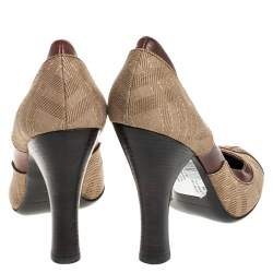 Burberry Brown/Beige Leather and Canvas Wooden Heel Pumps Size 40