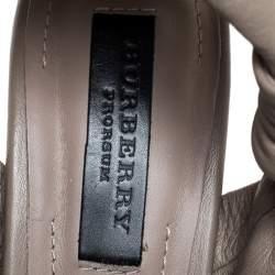 Burberry Beige Leather Back Zip Platform Sandals Size 39