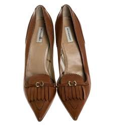 Burberry Tan Leather Fringe Pointed Toe Pumps Size 36