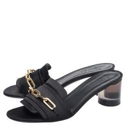 Burberry Black Satin Chain Detail Open Toe Mules Size 40