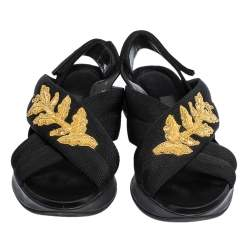 Burberry Black/Gold Embroidered Fabric and Satin Actonshire Crisscross Sandals Size 37.5