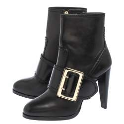 Burberry Black Leather Buckle Ankle Booties Size 39