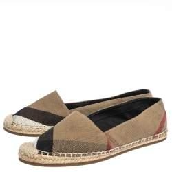 Burberry Brown Check Canvas Espadrilles Flats Size 38