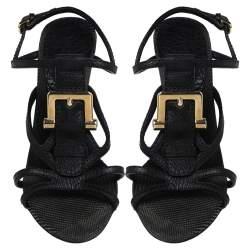 Burberry Black Leather T-Strap Buckle Detail Clanconnel Sandals Size 38