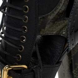 Burberry Black/Olive Green Snake-Effect Leather Westmarsh Embellished Boots Size 37.5