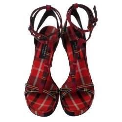 Burberry Multicolor Check Canvas Ankle Strap Sandals Size 41