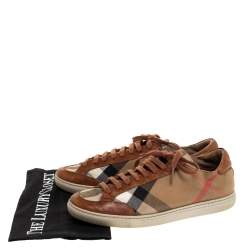 Burberry Multicolor Canvas and Leather Low Top Lace Up Sneakers Size 37