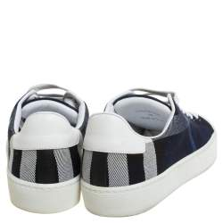 Burberry Blue/White Nova Check Canvas and Leather 'Westford' Lace Up Sneakers Size 36