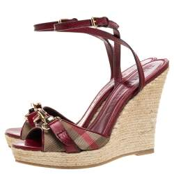 Burberry Red Leather and House Check Canvas Tenbury Ankle Strap Wedge Platform Sandals Size 39