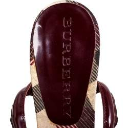 Burberry Burgundy Patent Leather Nova Heart Open Toe Sandals Size 38