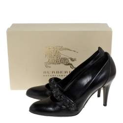 Burberry Black Leather Embellished Mary Jane Pumps Size 38