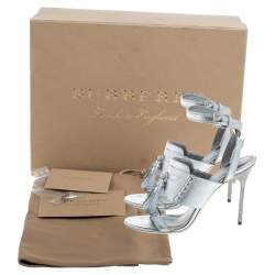 Burberry Metallic Silver Leather Bethany Ankle Strap Sandals Size 39