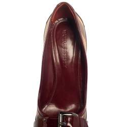 Burberry Burgundy Nova Check PVC and Patent Leather Buckle Peep Toe Pumps Size 40