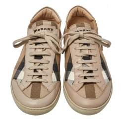 Burberry Nova Check Canvas And Leather Sneakers Size 39
