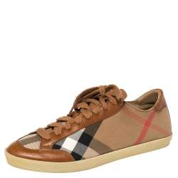 Burberry Brown/Beige Nova Check Canvas And Leather Plaid Sneakers Size 38