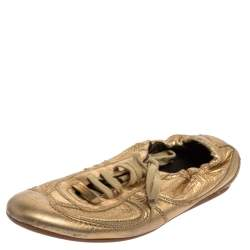 Burberry Gold Leather Low Top Lace Up Sneakers Size 36