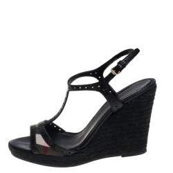 Burberry Black Perforated Leather And Novacheck Canvas T Strap Wedge Espadrilles Size 38