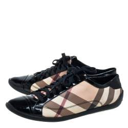 Burberry Black Patent Leather And Nova Check Coated Canvas Cap Toe Sneakers Size 40