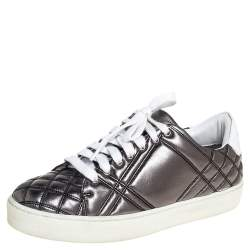 Burberry Metallic Gunmetal Quilted Leather Westford Low Top Sneakers Size 37