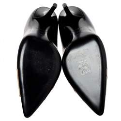 Burberry Black/Brown Leather and Patent Leather Pointed Toe Annalise Pumps Size 39.5
