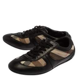 Burberry Black Leather And Check Canvas Low Top Sneakers Size 37