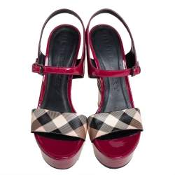 Burberry Pink Patent Leather And Nova Check Canvas Wedge Espadrille Sandals Size 39