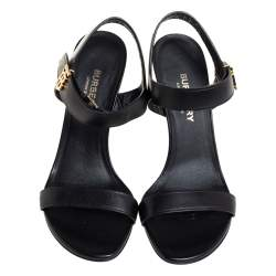 Burberry Black Leather Motif Ankle Strap Sandals Size 36