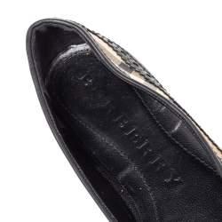 Burberry Black Brogue Leather And Haymarket Coated Canvas Tudor Flats Size 37