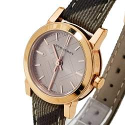 Burberry Rose Gold PVD Coated Stainless Steel Leather The City BU9236 Women's Wristwatch 26 mm