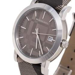 Burberry Grey Stainless Steel Check Leather Heritage BU1774 Unisex Wristwatch 38 mm