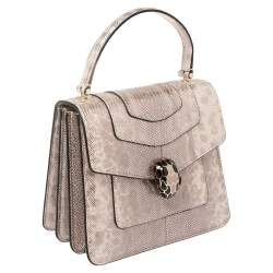 Bvlgari Metallic Pink Karung Serpenti Forever Top Handle Bag