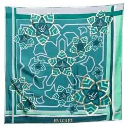 Bvlgari Green Arabic Calligraphy Print Silk Square Scarf
