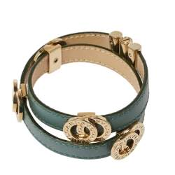 Bvlgari Bvlgari Green Leather Double Coiled Bracelet
