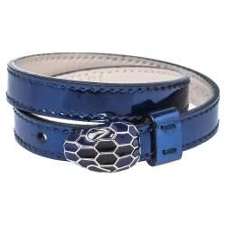 Bvlgari Blue Patent Leather Serpenti Forever Double Wrap Bracelet