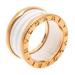 Bvlgari B.Zero1 4 Band White Ceramic 18k Rose Gold Ring Size 52