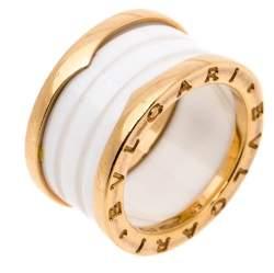Bvlgari B.Zero1 White Ceramic 18K Rose Gold 4-Band Ring Size 52
