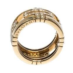 Bvlgari Parentesi Diamond 18K Yellow Gold Wide Band Ring Size 50