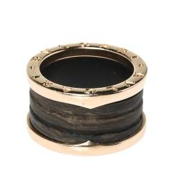 Bvlgari B.Zero1 Brown Marble 18K Rose Gold 4-Band Ring Size 52
