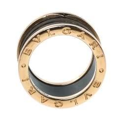 خاتم بلغاري 4 حلقات ذهب وردي عيار 18 رخام بني بي.زيرو1 مقاس 52