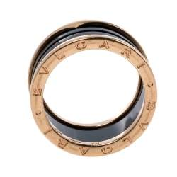 Bvlgari B.Zero1 4-Band Black Ceramic 18K Rose Gold Band Ring Size 62