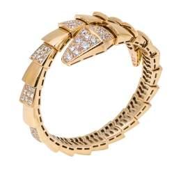 Bvlgari Serpenti Viper Diamond 18K Rose Gold One-Coil Bracelet S